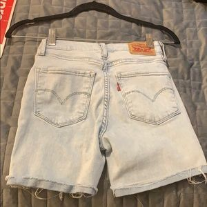 Levi's Light Wash Raw Hem Cuff Bermuda Shorts